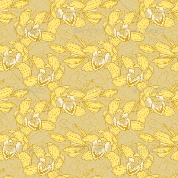 GraphicRiver Seamless Pattern with Orchid 5061100