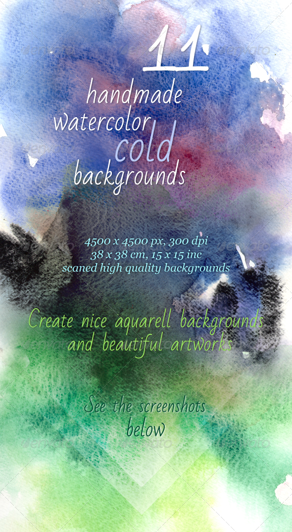 GraphicRiver 11 Handmade Cold Watercolor Backgrounds 5061214