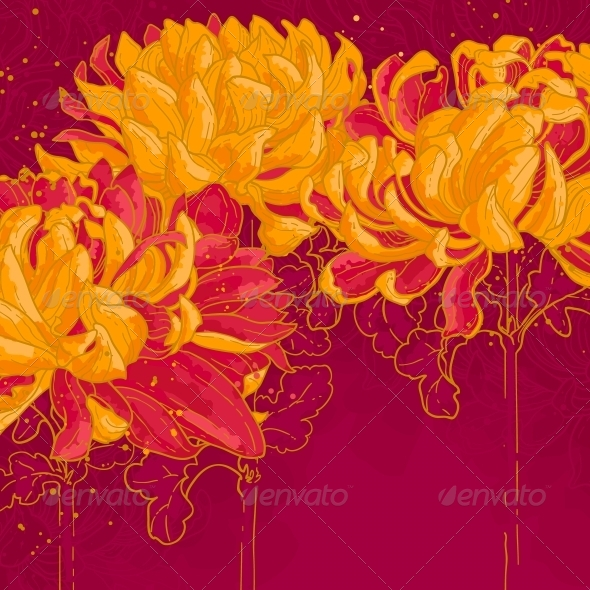 GraphicRiver Romantic Vector Background with Chrysanthemum 5061343