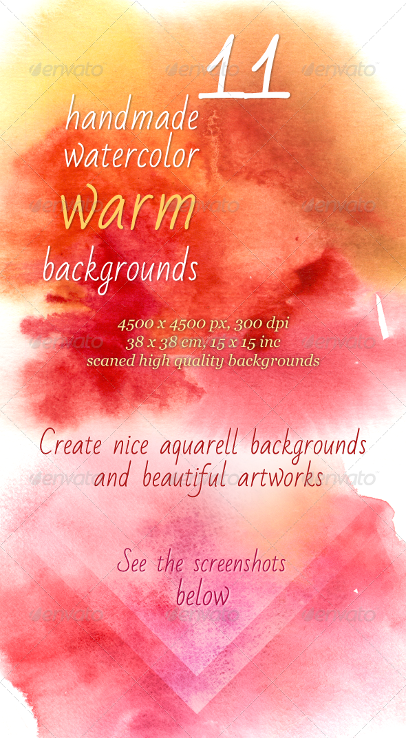 11 Handmade Warm Watercolor Backgrounds