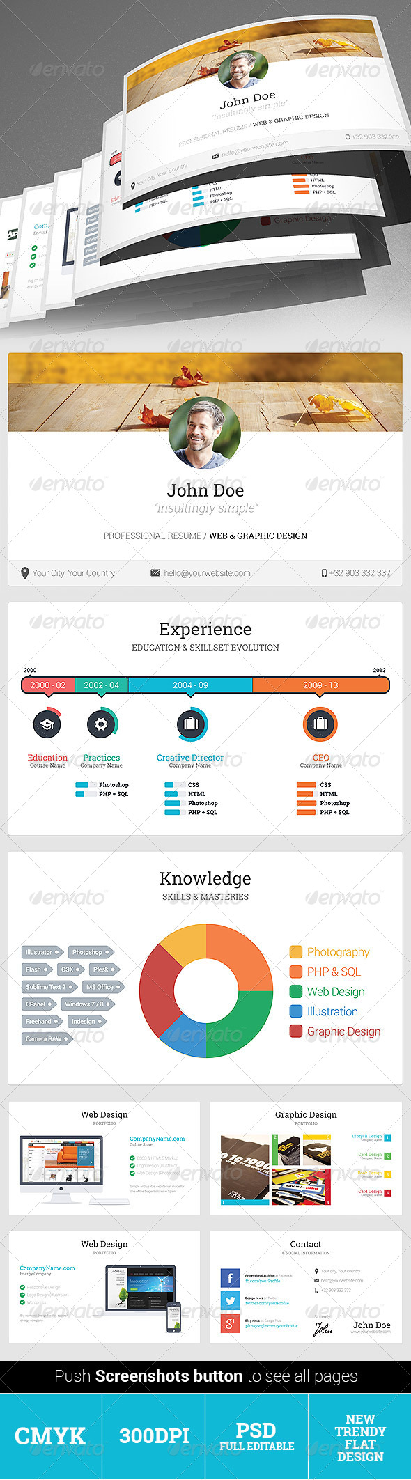 GraphicRiver Professional Flat Color Resume 4995016