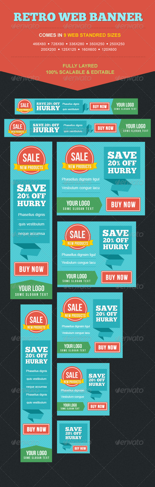 GraphicRiver Colorful Retro Banner Set 5061807