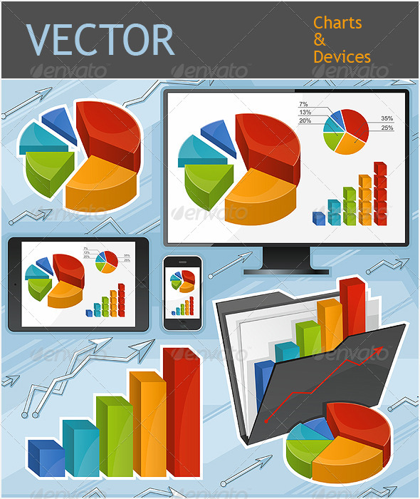 GraphicRiver Charts and Devices Set 5061856