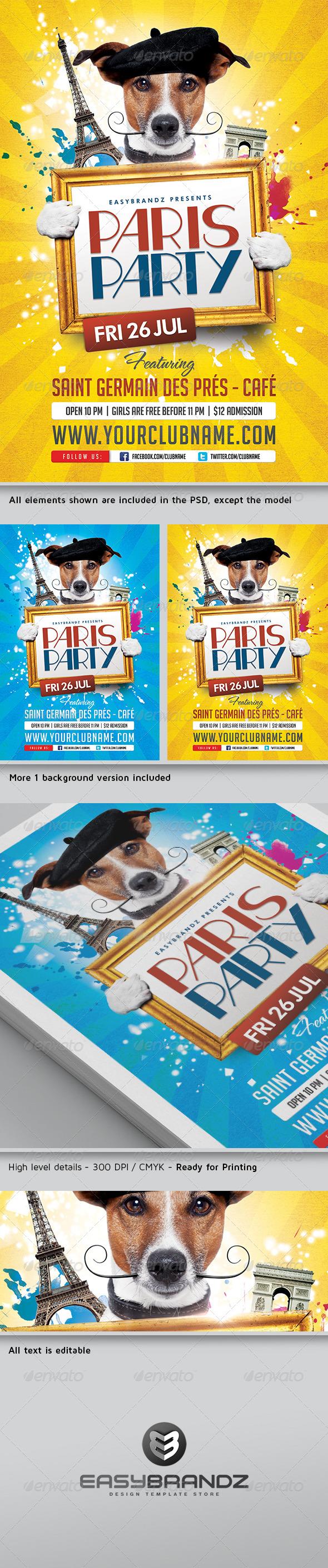 GraphicRiver Paris Party Flyer Template 5062412
