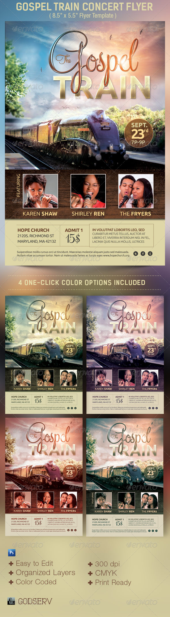 Gospel Train Church Concert Flyer Template - Church Flyers