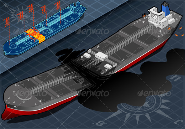 GraphicRiver Isometric Ship Tanker Destroyed in Two Parts 5063706