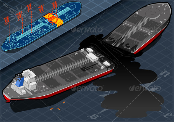 Isometric Ship Tanker Destroyed in Two Parts