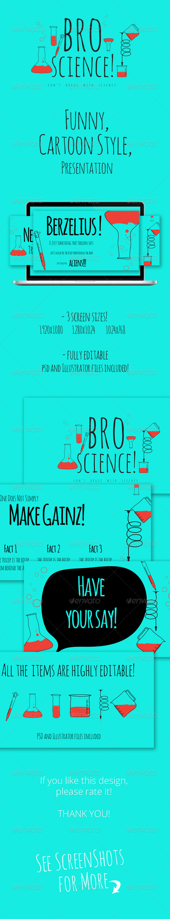 GraphicRiver Bro Science Cartoon Style Presentation 5025328