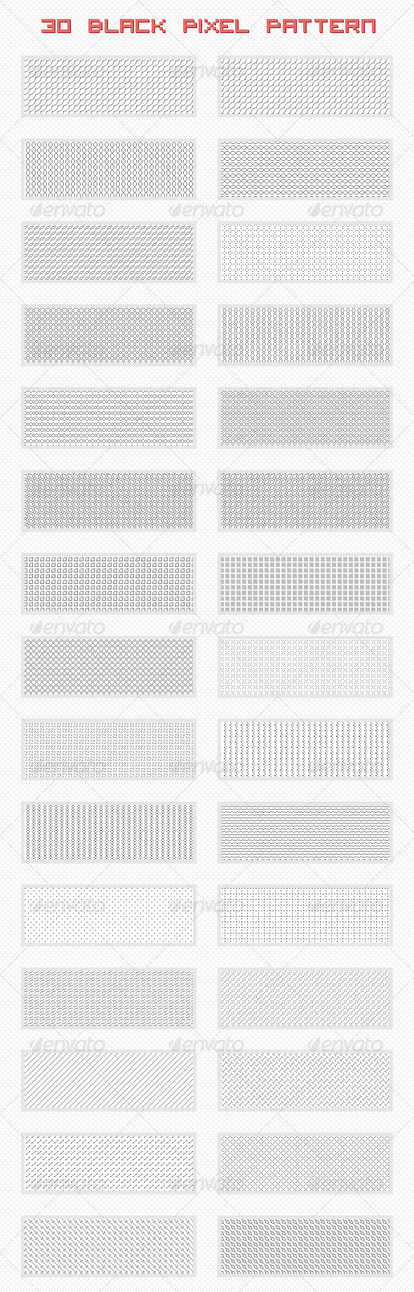 GraphicRiver Black Pixel Patterns 4836135