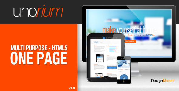 ThemeForest Unorium One Page HTML Theme 5039477