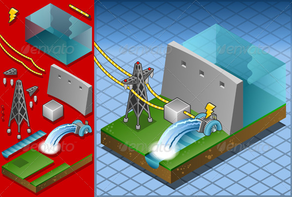GraphicRiver Isometric Hydropower Watermill Produce Energy 5063890