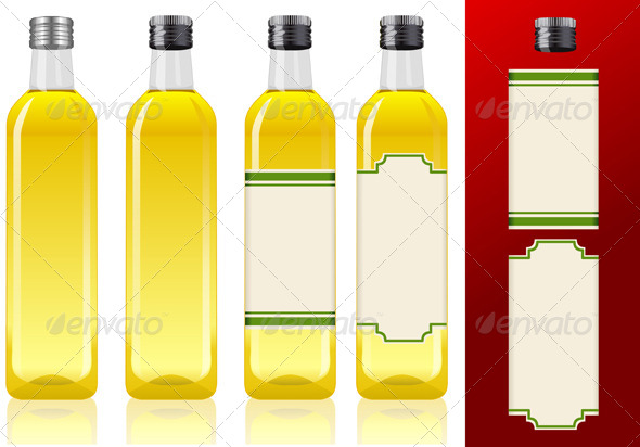GraphicRiver Four Olive Oil Bottles with Labels 5063895