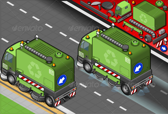 GraphicRiver Isometric Garbage Cleaner Truck in Rear View 5063903
