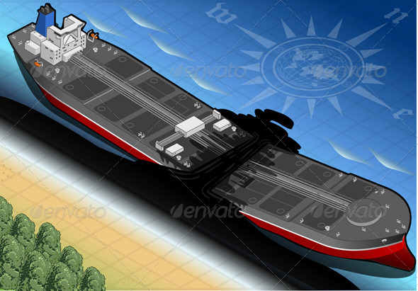 GraphicRiver Isometric Ship Tanker Destroyed on the Coast 5063911