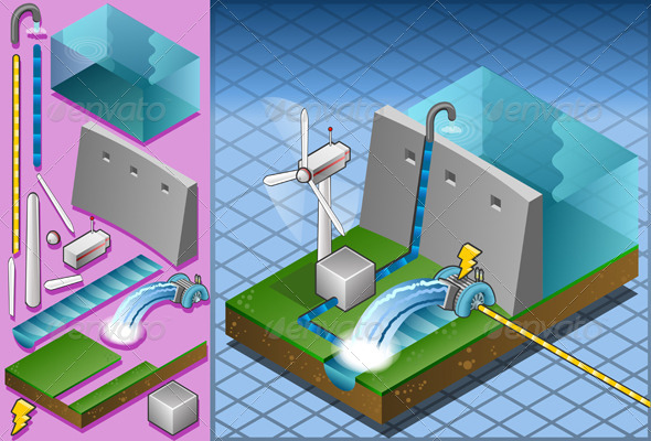 GraphicRiver Isometric Hydropower Watermill and Wind Turbine 5063914