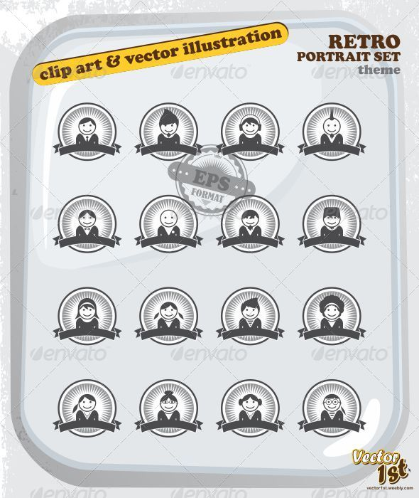 GraphicRiver Retro Icon Portrait Set 5063921