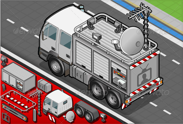 GraphicRiver Isometric Broadcast TV Truck in Rear View 5063928