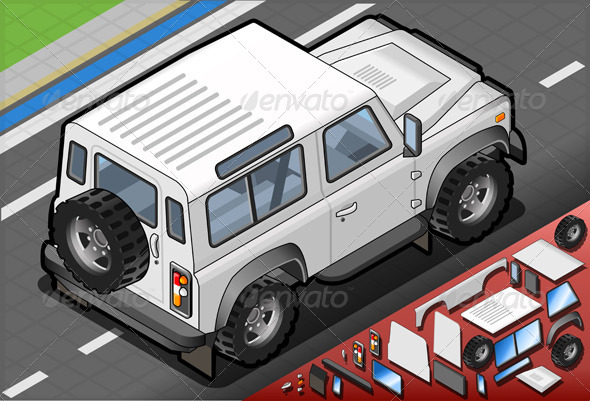 GraphicRiver Isometric White Cross Country Vehicle Rear View 5064393