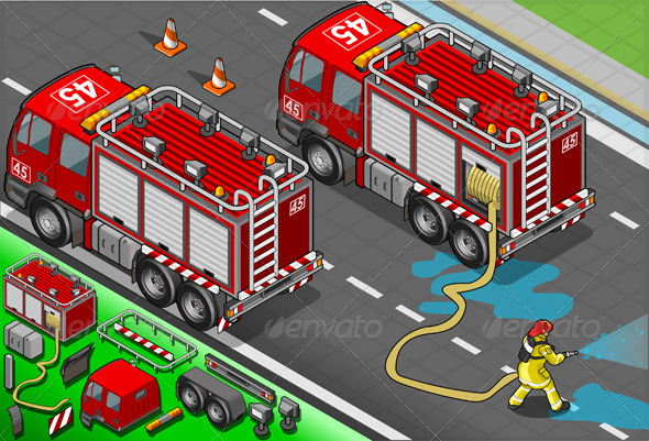 GraphicRiver Isometric Firefighter Truck in Rear View 5064413