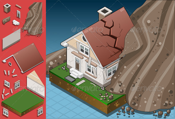 GraphicRiver Isometric House Hit by Landslide 5064415