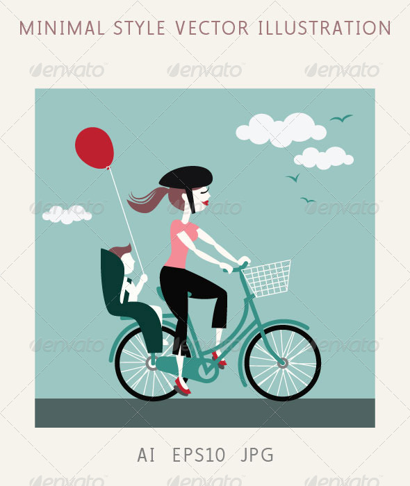 GraphicRiver Mother with Baby Riding a Bicycle 5064772