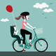 Mother with Baby Riding a Bicycle - GraphicRiver Item for Sale