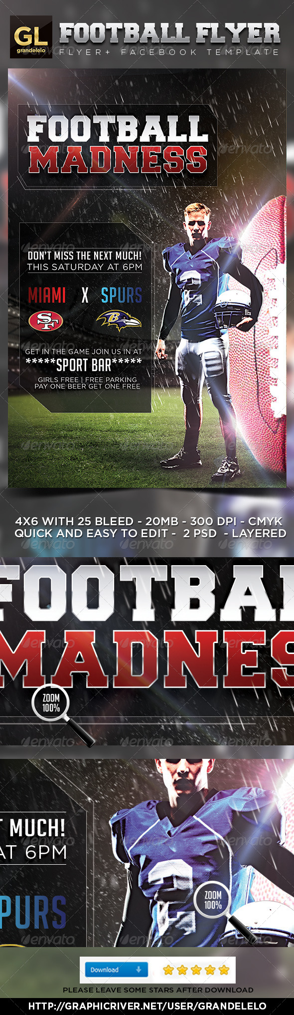 GraphicRiver Football Flyer Template 5065013