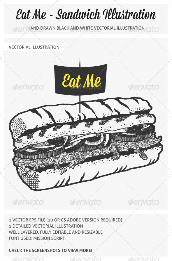 GraphicRiver Hand Drawn Sandwich Illustration
