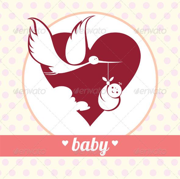GraphicRiver Stork Delivering a Newborn 5065709