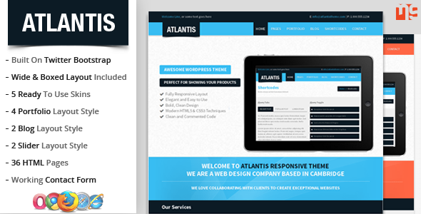 Atlantis : Bootstrap Multipurpose Responsive Theme - This is the preview for the file.