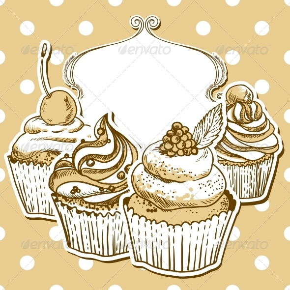 GraphicRiver Retro Frame with Cupcake 5066057