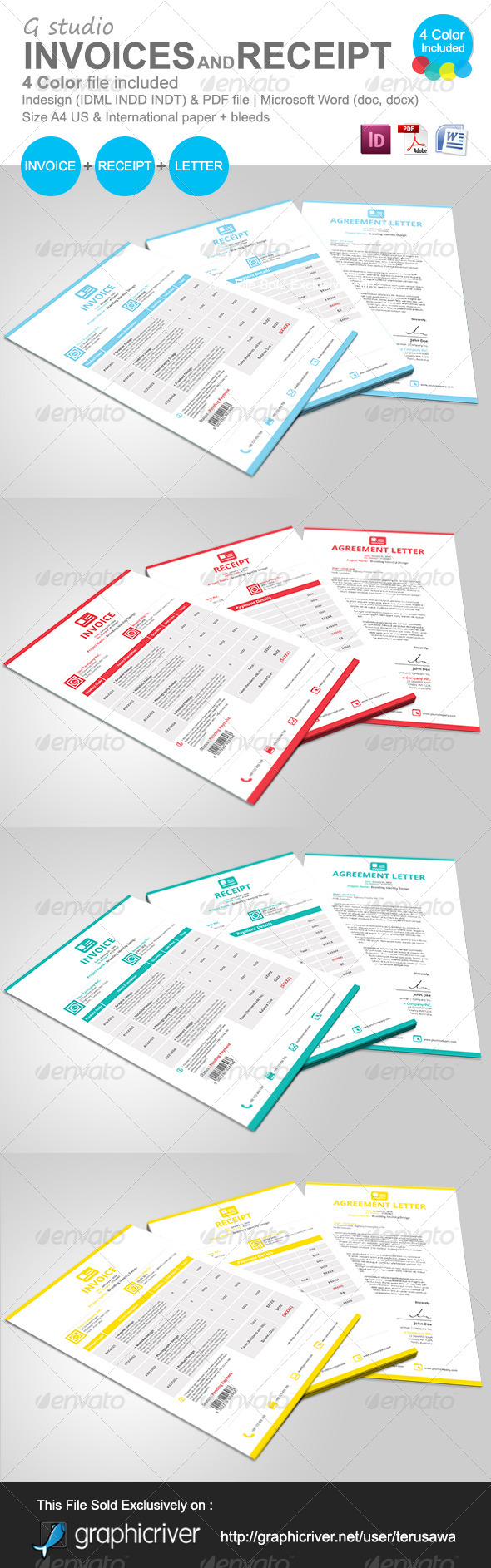 Gstudio Invoices And Receipt Template - Proposals & Invoices Stationery