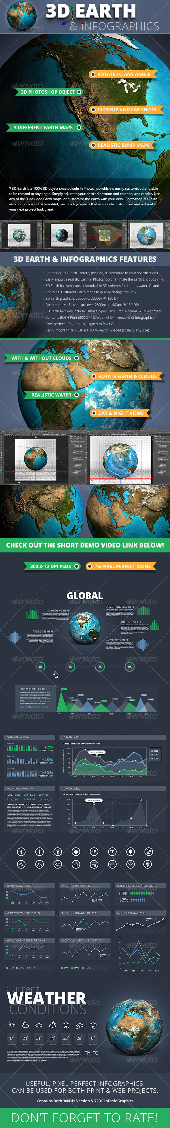 GraphicRiver 3D Photoshop Earth & InfoGraphics Set 5017991