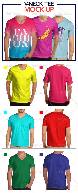 GraphicRiver V-Neck Tee Mock-Up Pack 5061030