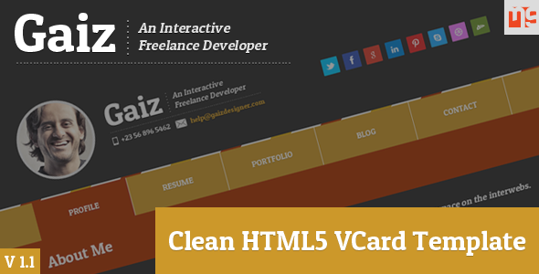 Gaiz Clean Horizontal Scrolling Responsive Vcard - This is the preview for the file.