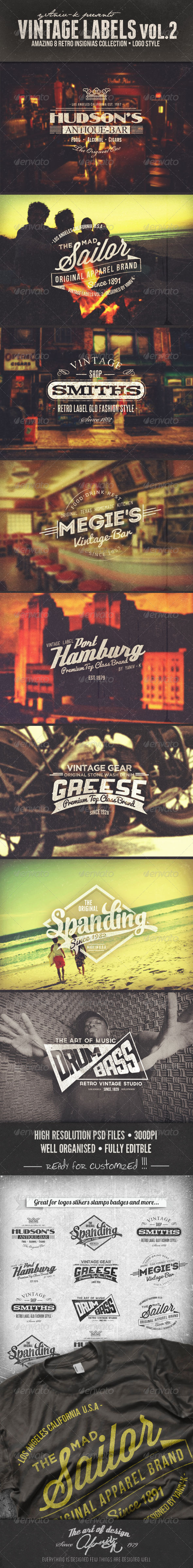 Vintage Labels Vol.2 - Badges & Stickers Web Elements