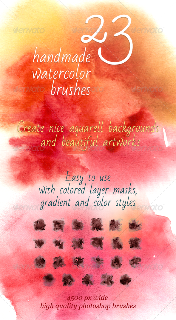 GraphicRiver 23 Handmade Watercolor Brushes 5066974