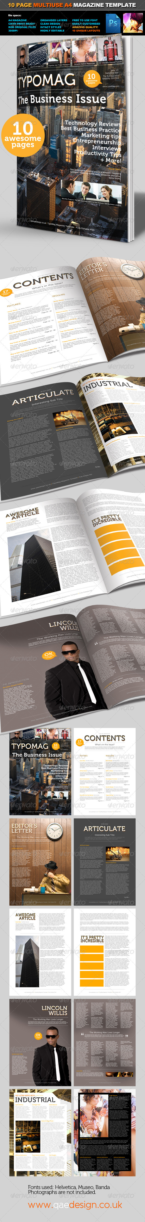 TypoMag Corporate Business PSD Magazine Template