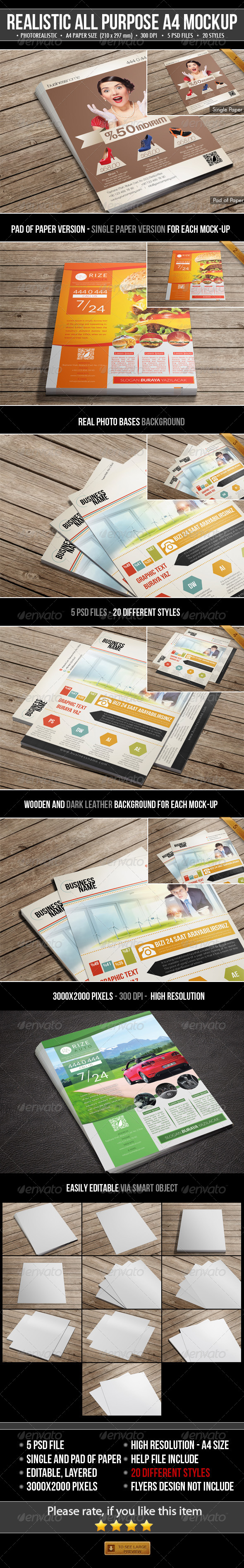 GraphicRiver Realistic All Purpose A4 Mock-Up 5067052