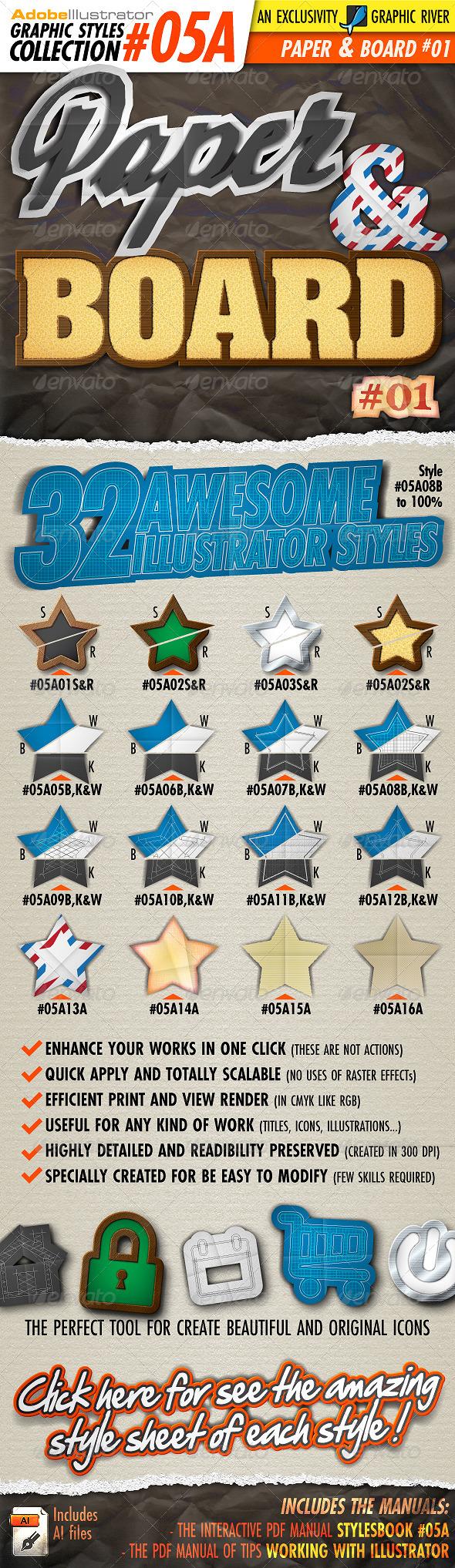 GraphicRiver AI Styles Collection #05A Paper & Board #01 5067566