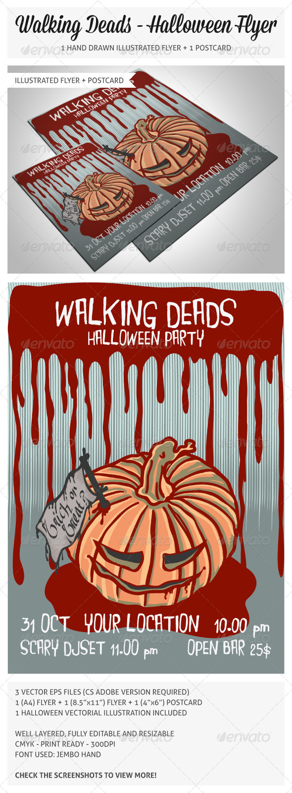Hand Drawn Halloween Flyer - Holidays Events