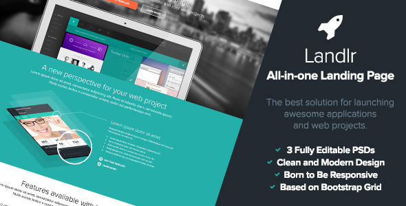 ThemeForest Landlr The All-in-One Landing Page Flat Design 5068959