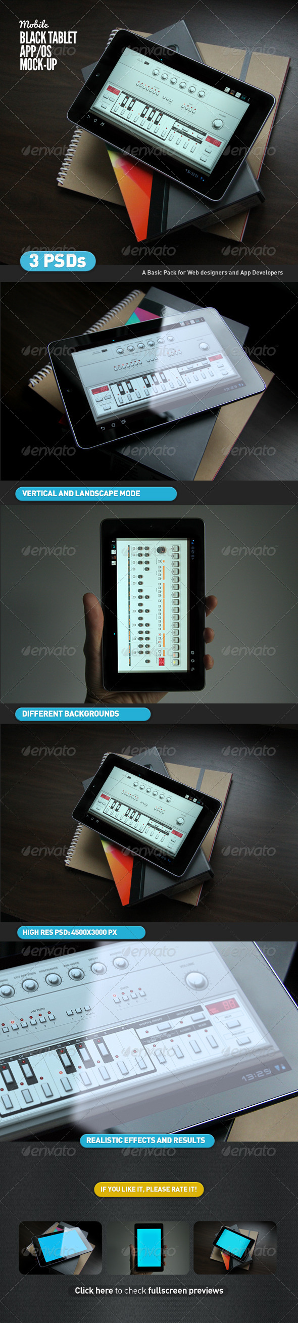Black Tablet | Android GUI App Mock-Up - Mobile Displays