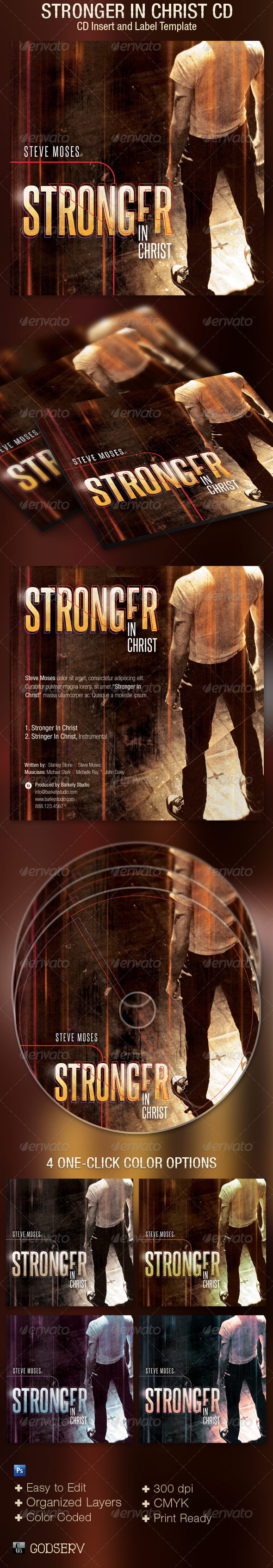 GraphicRiver Stronger In Christ CD Artwork Template 5069473