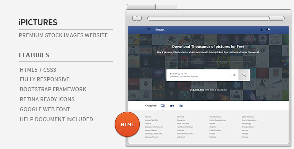 ThemeForest iPictures HTML Responsive Stock Image Website 5069937