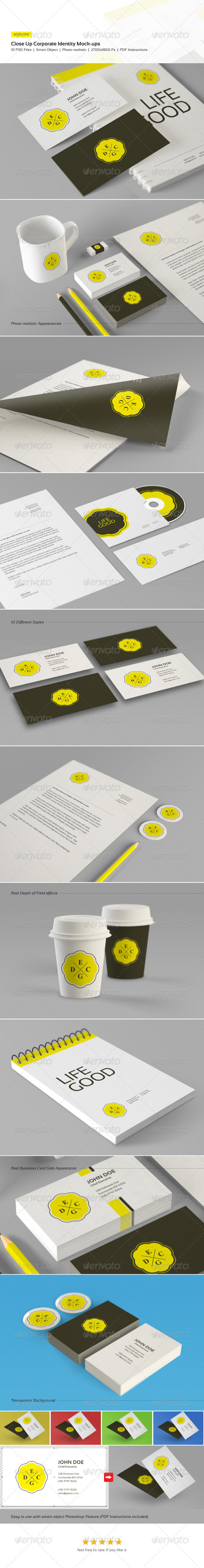 GraphicRiver Close Up Corporate Identity and Branding Mock-Ups 5070026