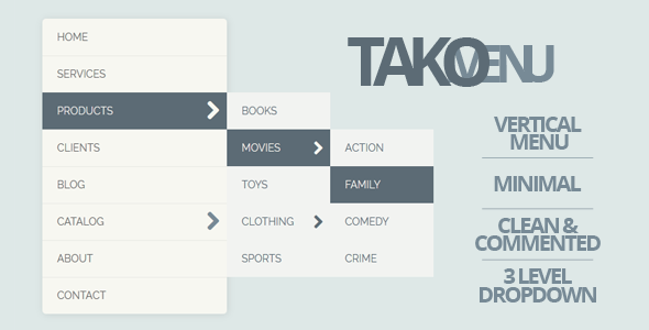 CodeCanyon TAKO Vertical Dropdown Menu 5070304