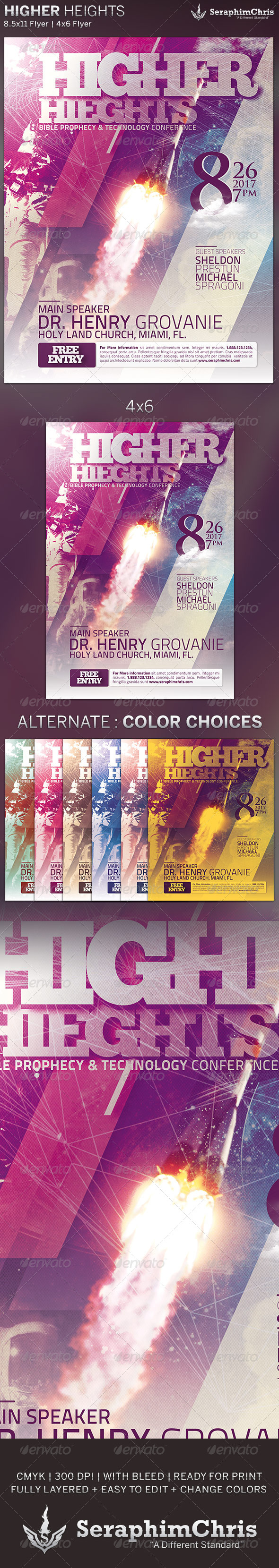 GraphicRiver Higher Heights Church Conference Flyer Template 5071153