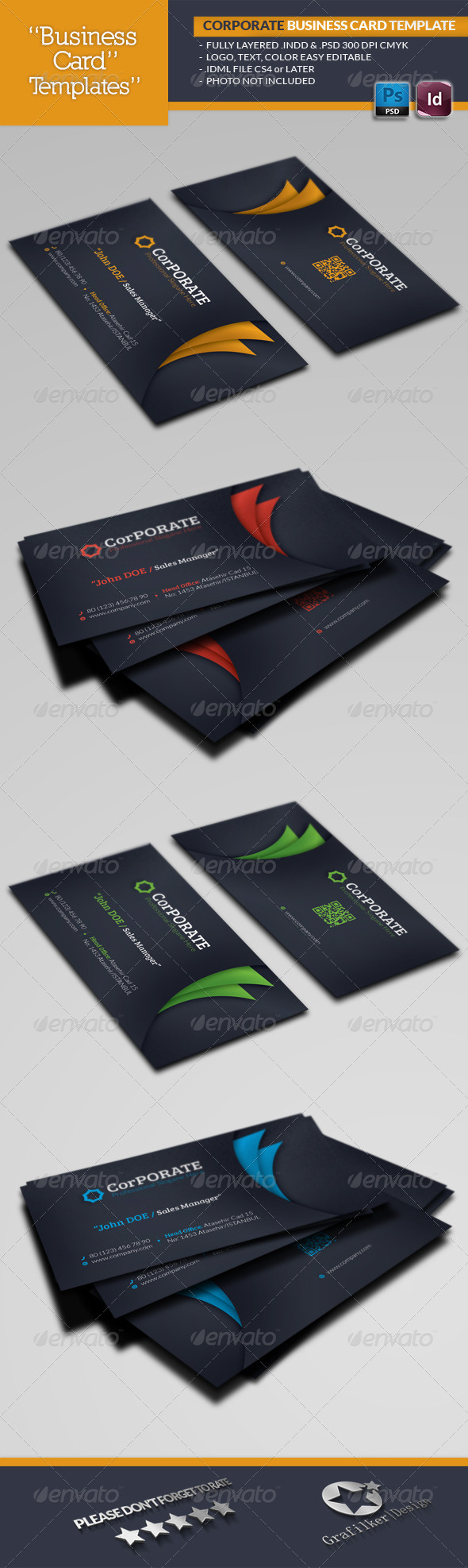 Corporate Business Card Template - Business Cards Print Templates