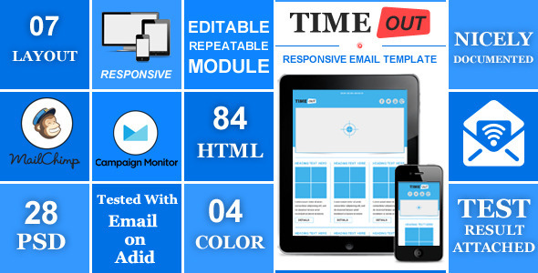 ThemeForest TIMEOUT Responsive Professional Email Template 5071248